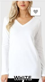 Curvy Essential Long Sleeve Tee - White