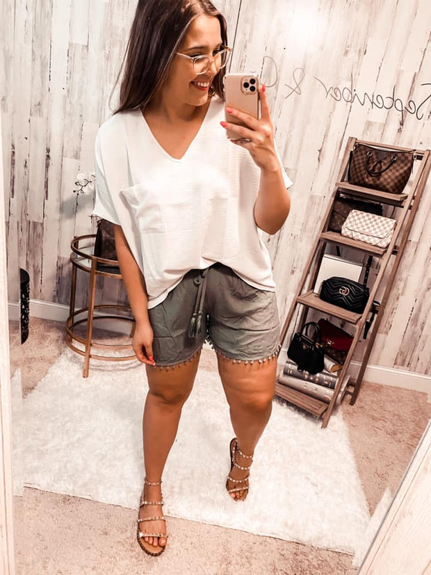 Best Selling Crepe Pocket Top - SILVER