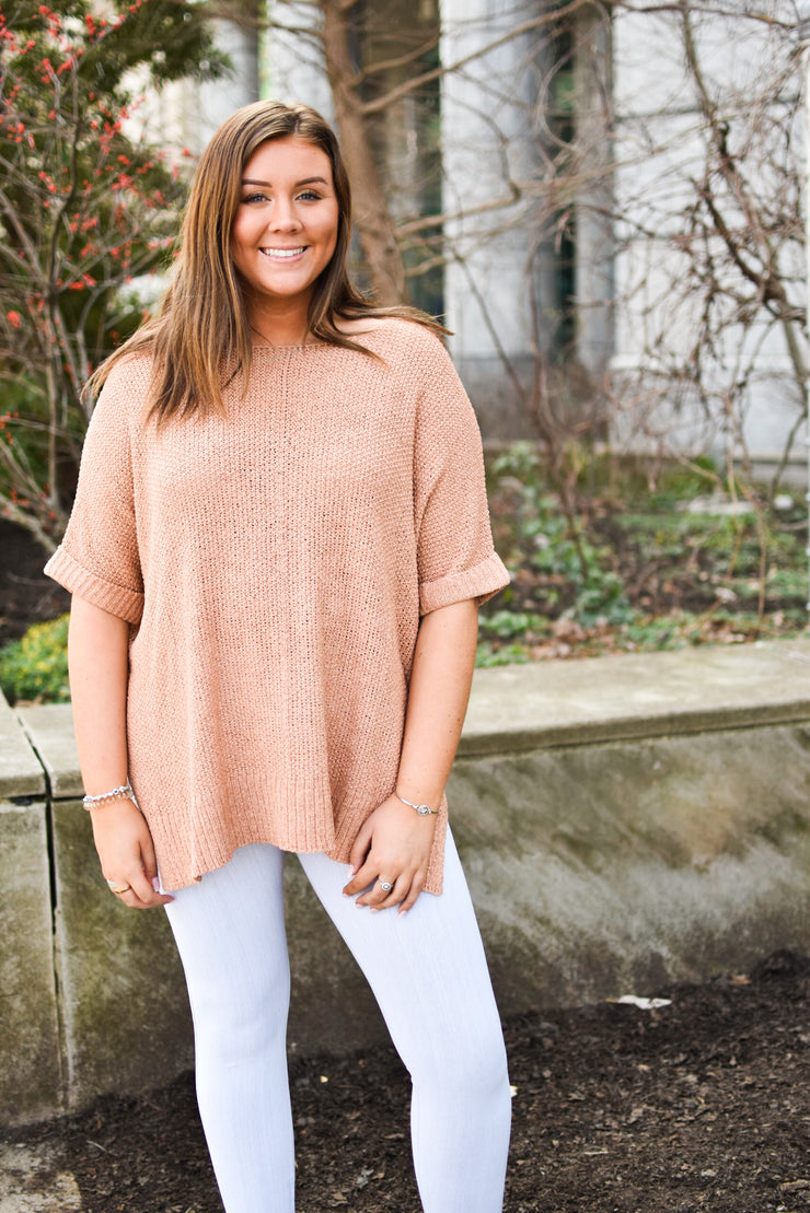 Comfy Knit Pullover - Dusty Peach