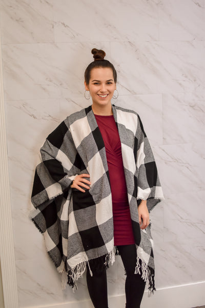 Cutest Plaid Poncho Ever - White