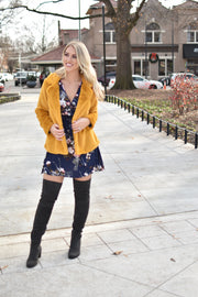 Golden Star Faux Fur Jacket