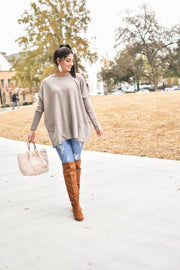Camel Suede Knee High Boots
