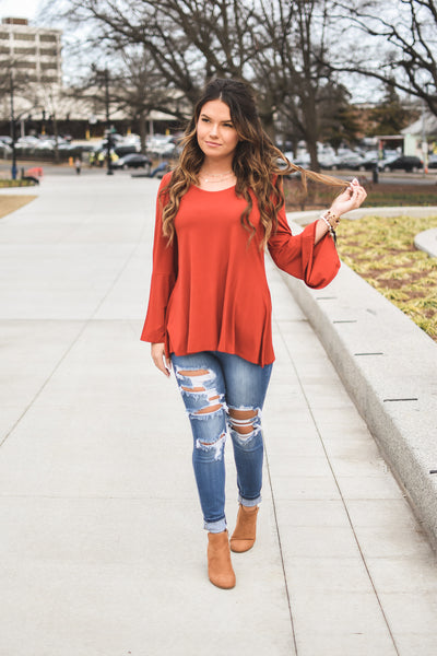Gingersnap Bell Sleeve Top