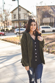 Fall Full Zip Stretchy Jacket - Olive