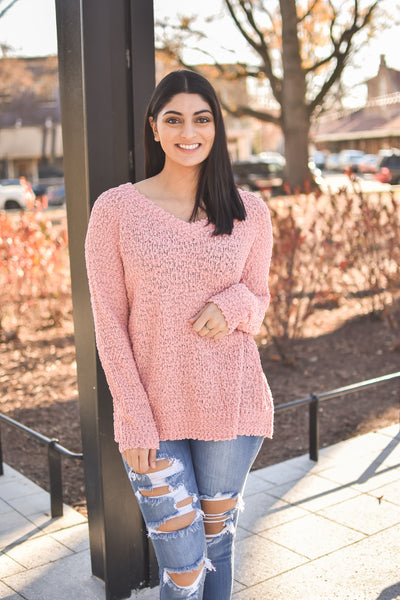 V-Neck Popcorn Sweater (Rose)