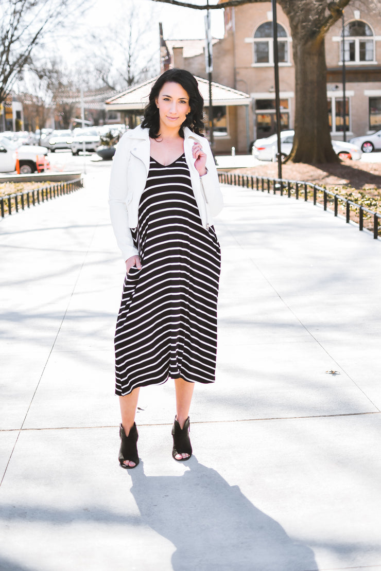 Jet Set For Sun Dress - Black/White Stripes