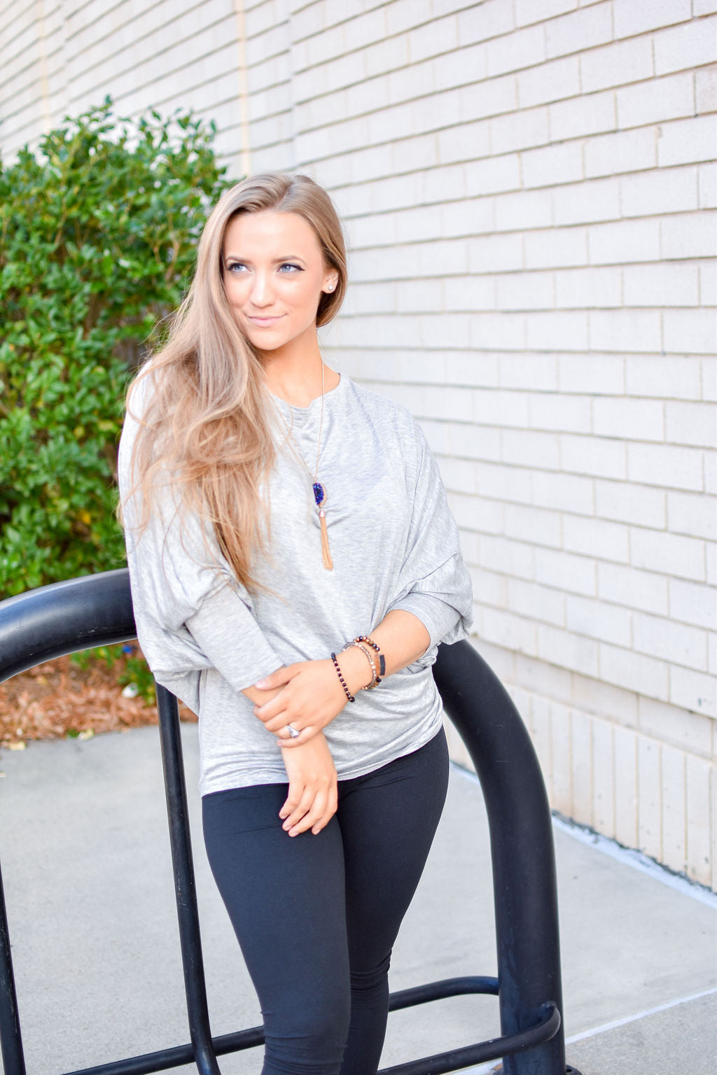 Perfect Pairing Outfit (Fits Size Medium or Large): Popcorn Cardigan, Grey Top, Necklace, Leggings & Earrings