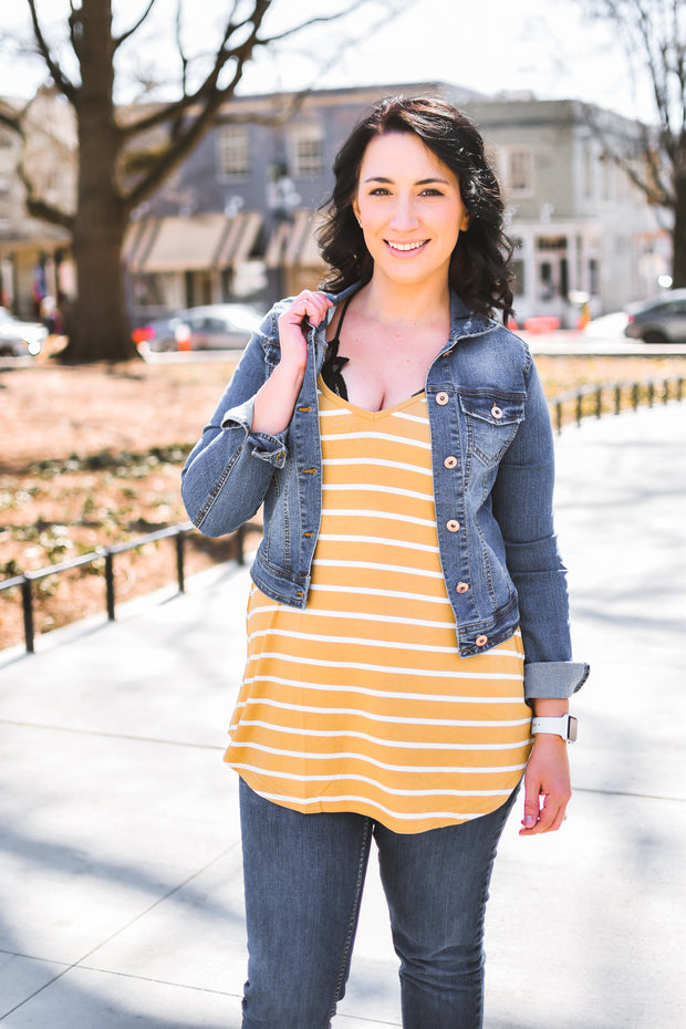 Striped Reversible Layering Tank - Honey