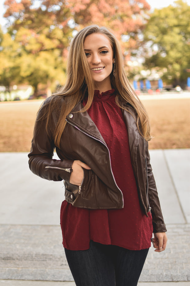 Drop The Beat Faux Leather Jacket