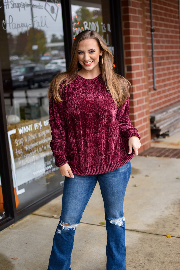 Ribbed Chenille-Burgundy