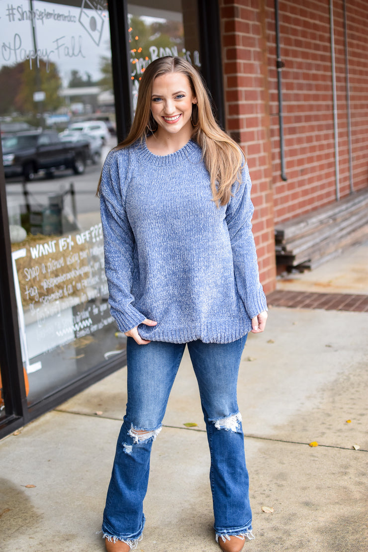 Premium Ribbed Chenille Sweater-Ash Blue