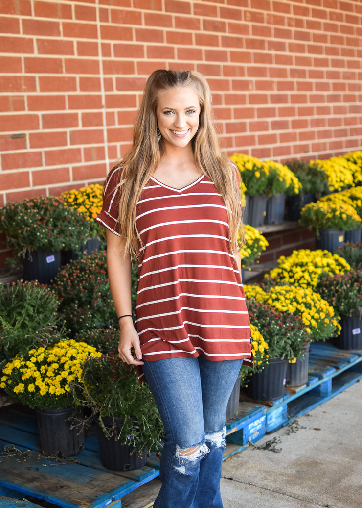 Rolled Sleeve Stripe Tee - Rust