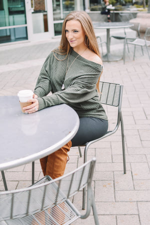 Slouchy Olive Ribbed Top