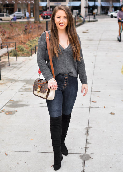 Dark Grey Deep V-Neck Sweater