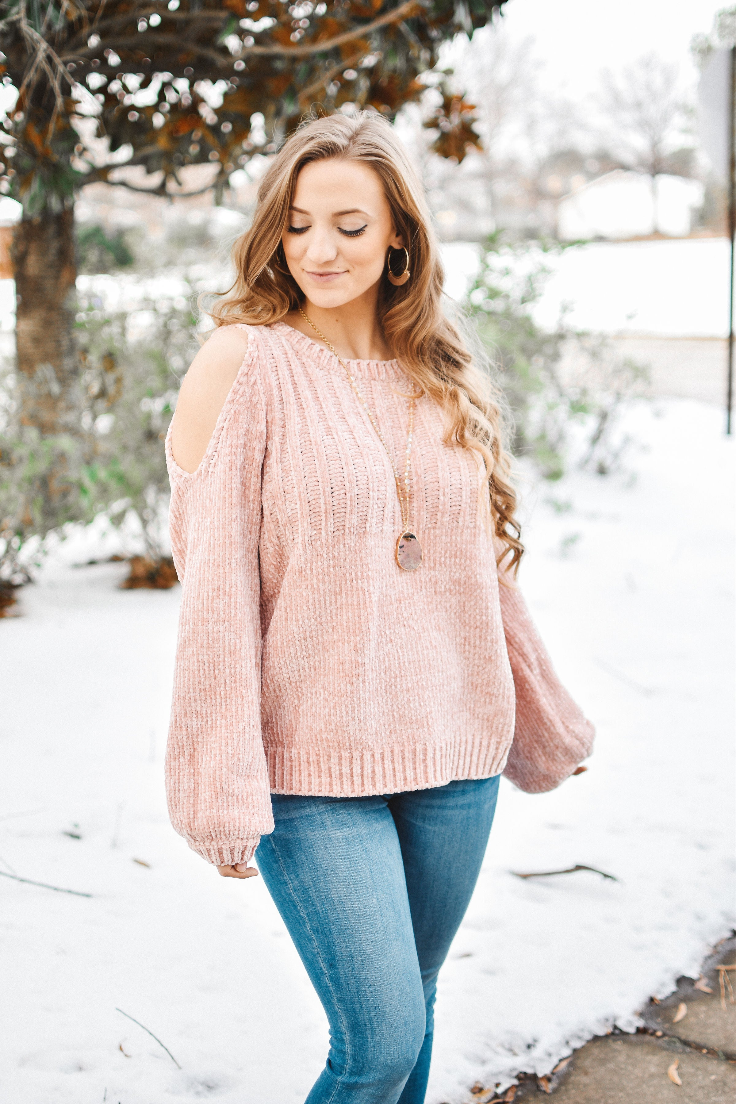 Blush Cold Shoulder Chenille Sweater