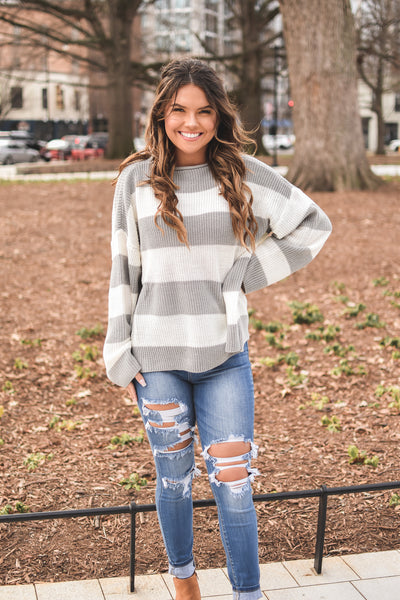 Better Together Grey Striped Sweater