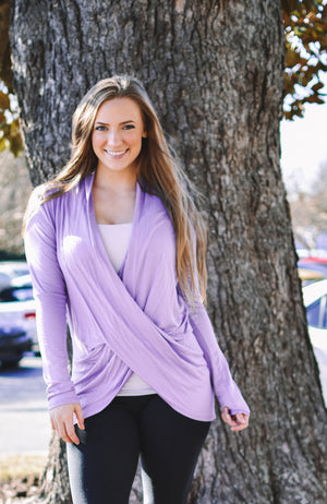 Best Selling Comfy Wrap Top - Lilac