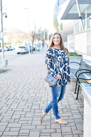 Blue and Black Cheetah Tunic