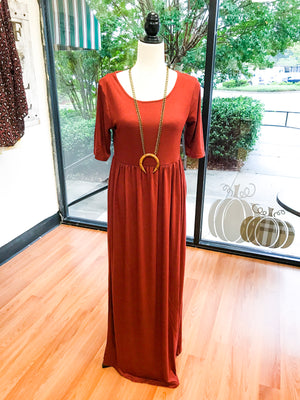 Short Sleeve Layering Maxi Dress (10 Colors)