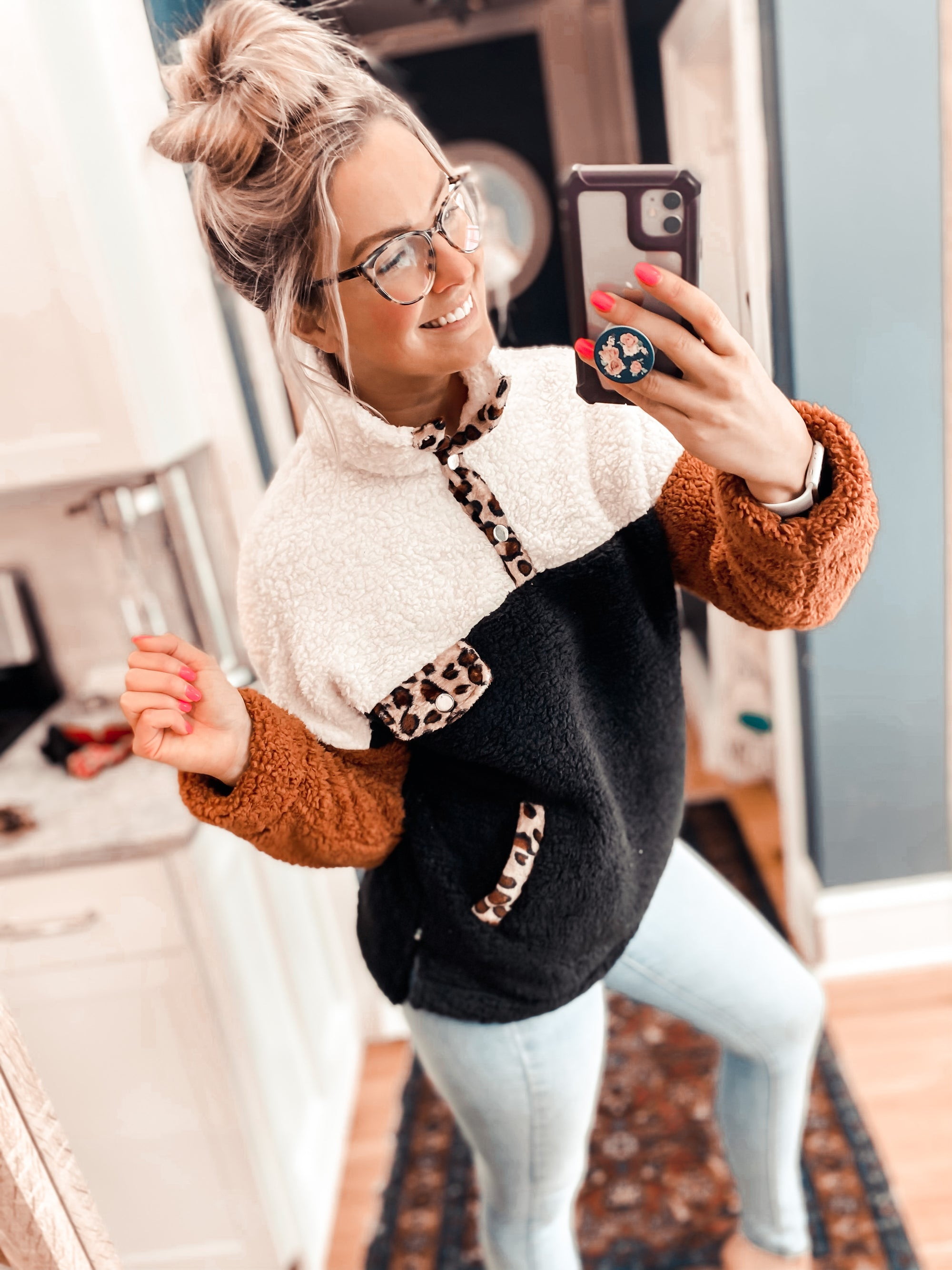 Cozy In Maine Leopard Sherpa Pullover (PRE-ORDER: The @babiesofsteele Collection)