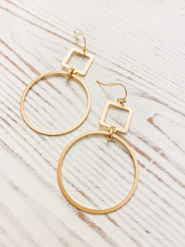 Simple Gal Dangle Earrings - Matte Gold