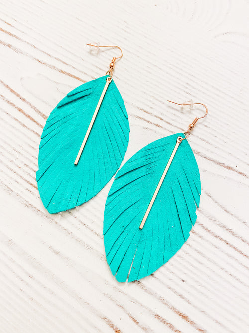 Strong Roots Genuine Leather Feather Earrings - Jade
