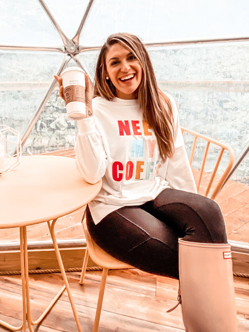 Need My Coffee Pullover (PRE-ORDER: @frankie.gene collection - please allow at least 30 business days for shipment.)