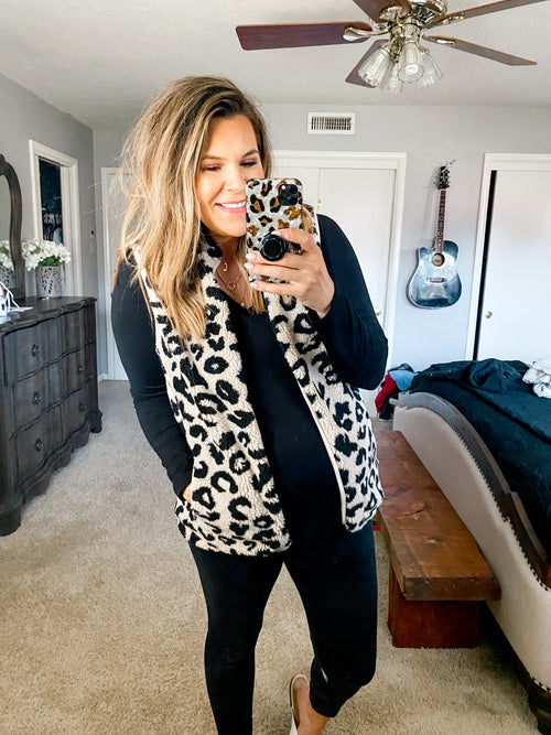 Listen Close Leopard Sherpa Vest (PRE-ORDER: The @betterwithchardonnay Collection)