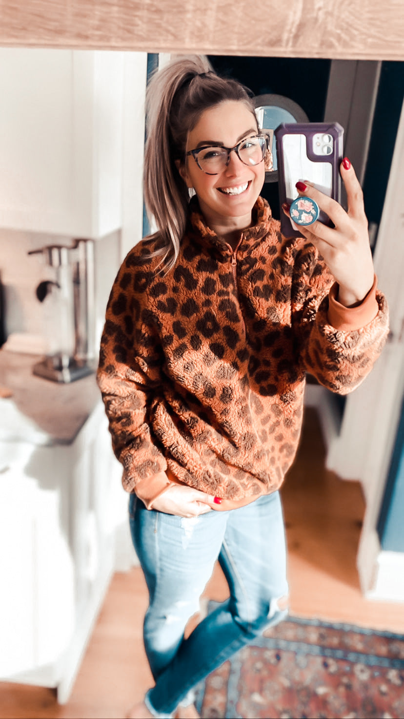 Loving Leopard Sherpa Pullover (PRE-ORDER: The @babiesofsteele Collection)