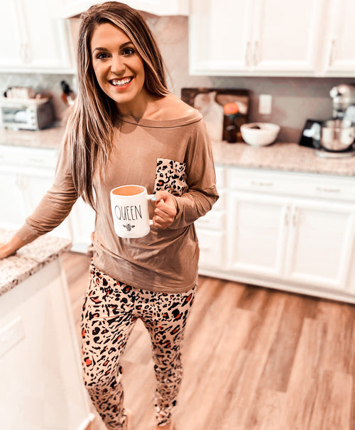 Coffee to Cocktails Cheetah Lounge Set (PRE-ORDER: @frankie.gene collection - please allow at least 30 business days for shipment.)