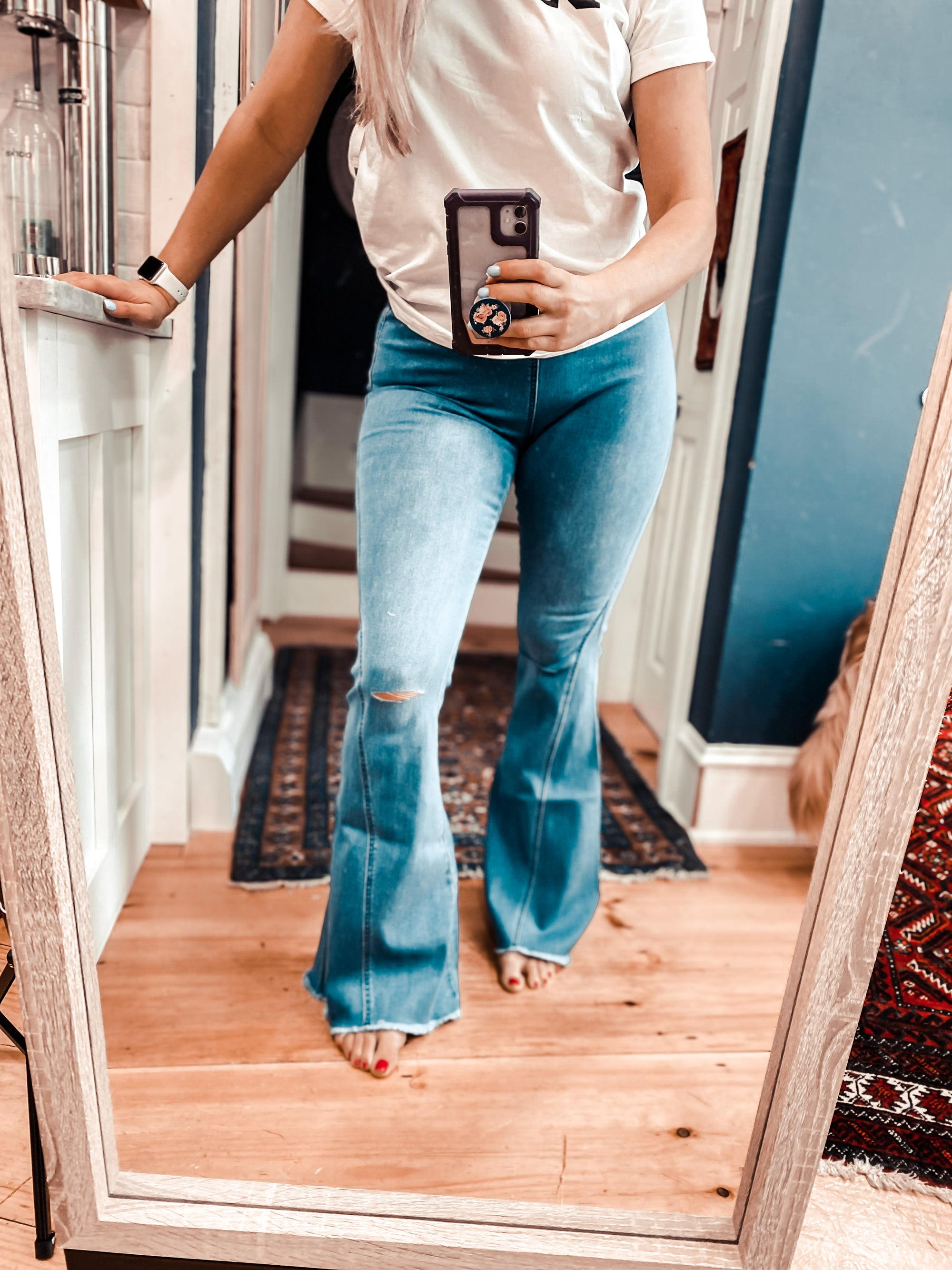 Pull On Distressed Flares - Denim (PRE-ORDER: The @babiesofsteele Collection)