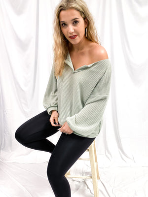 Winding Road Waffle Top - Dusty Sage