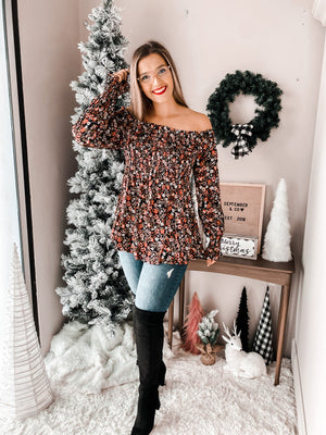 Midnight Rose Boho Blouse
