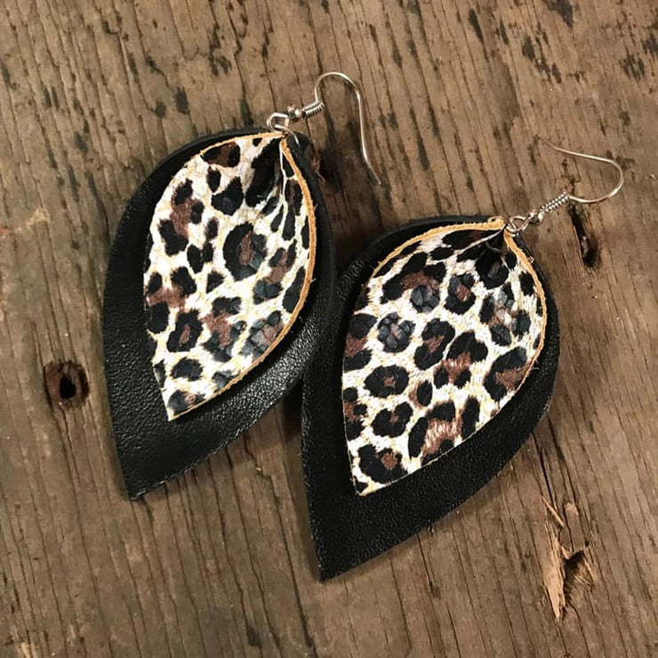 PRE-ORDER   Leopard Leather Earrings   (Est. Ship  NOVEMBER)