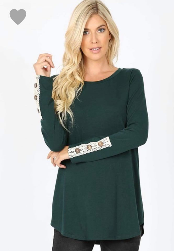PRE-ORDER   Mystery Color Lace Sleeve Button Top  (Est. Ship ASAP)