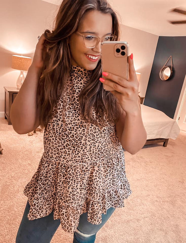 Making Me Blush Leopard Babydoll Top