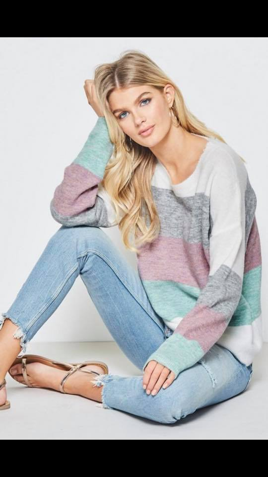 Pretty in Pastel Color Block Sweater