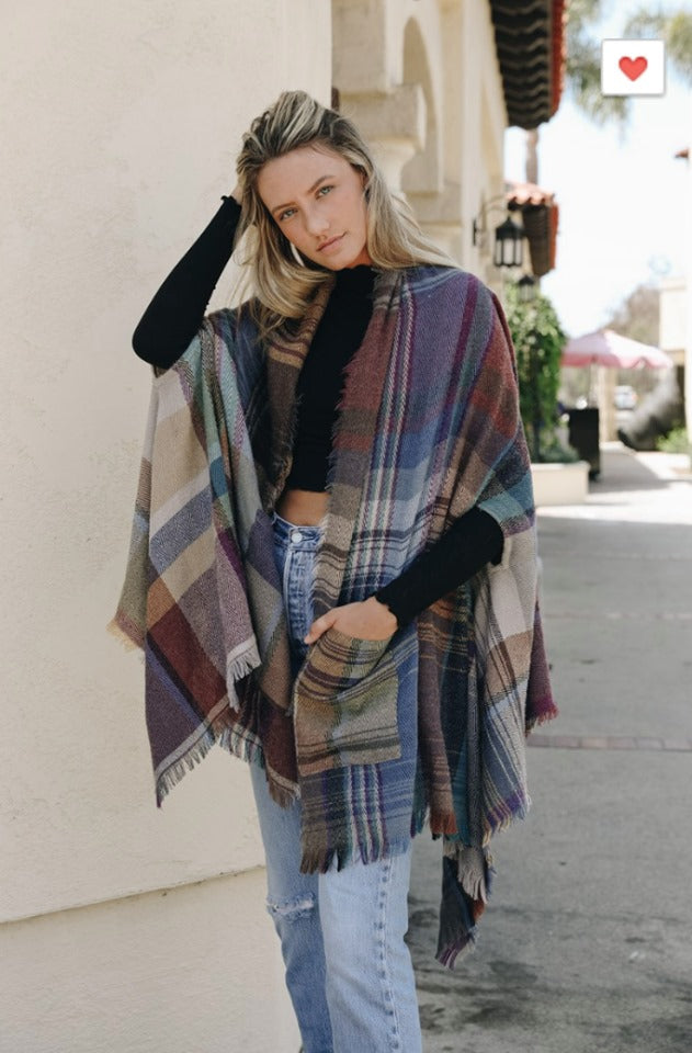 PRE-ORDER  Plaid Ruana Wrap - ONE SIZE   (Estimated Ship  OCTOBER)