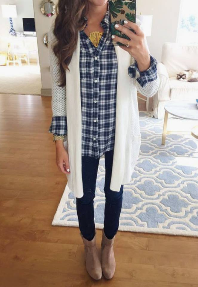 PRE-ORDER    Plaid and Cardi  OOTD  ships to us in 2-12 weeks    JEANS