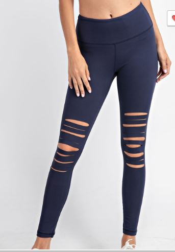 PRE-ORDER   Ripped Up Leggings - Navy
