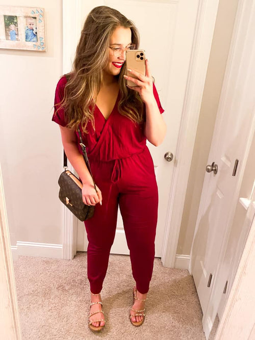 Shamelessly Addicted to Fall Jumpsuit - WINE (Special Order - Guaranteed Shipment to you within 30 business days of your order date!)