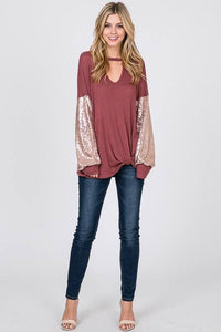 PRE-ORDER  Sparkly Sleeved Top
