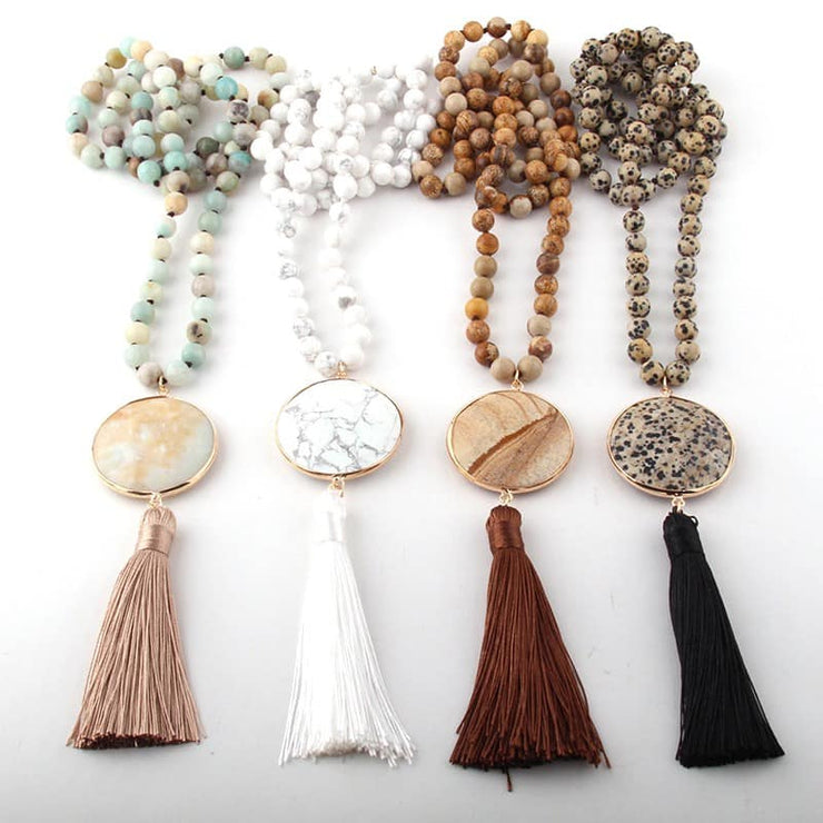 PRE-ORDER   Stone Tassel Necklace   (Est. Ship  NOVEMBER)