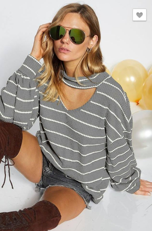 PRE-ORDER  Striped Waffle Choker Top  ships to us in 2-12 weeks