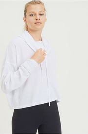 Weekend Hours Cropped Hoodie - White