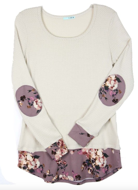 Mauve Floral Patch Top