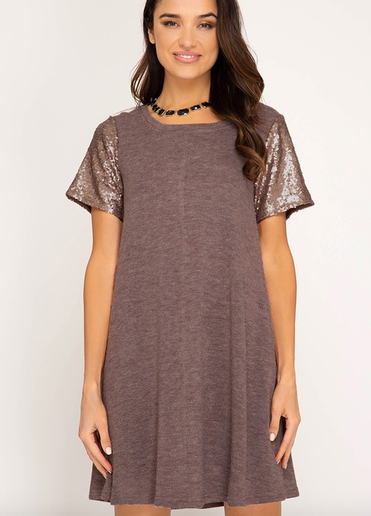 PRE-ORDER Sequin Sleeve Dress (ESW 9/1-9/30)
