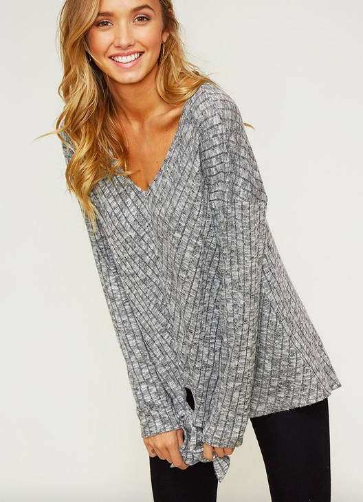 Ribbed Tie Top - GREY