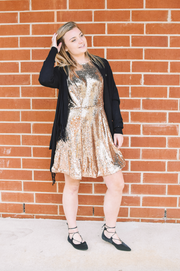 Rose Gold Sequin Skater Dress