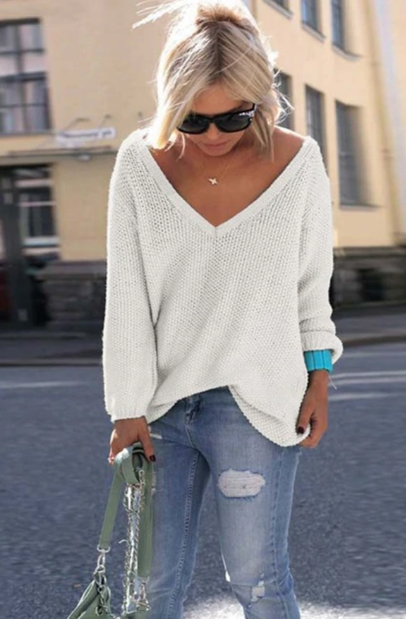 Hot Seller  RE-ORDER V-Neck Lightweight Sweater (Estimated Ship DECEMBER)